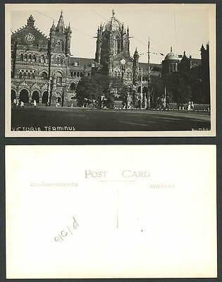 India Old Real Photo Postcard Victoria Terminus Bombay, Railway Station & Street
