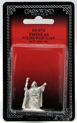 Ral Partha 03-073 Phineas Wizard with Staff (Player Character) Sorcerer Mage NIB