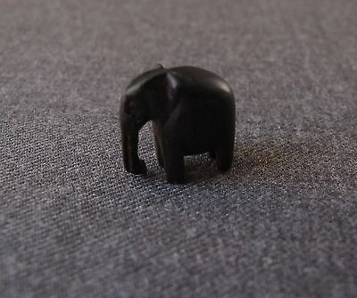 Vintage Carved Ebony Wooden Miniature Elephant Figurine For Jewelry Making
