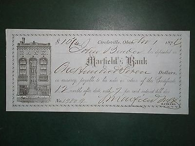 Marfield's Bank. Apr. 1, 1876. Circleville, Oh.