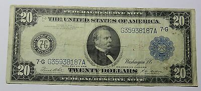 1914 20 Dollar Federal Reserve Note Us Serial Number G35938187A