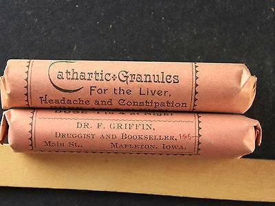 LOT of TWO CIRCA1900s CATHARTIC GRANULES for LIVER MEDICAL QUACKERY ITEMS~MK130