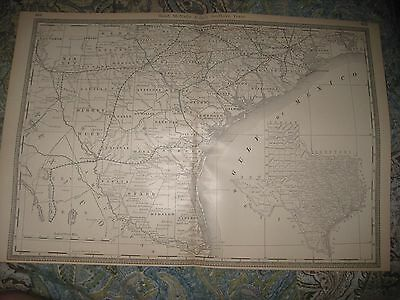 Huge Gorgeous Antique 1888 South Southern Texas Railroad Stops Map Galveston Nr
