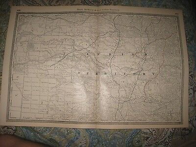 SUPERB LARGE ANTIQUE 1888 INDIAN TERRITORY now OKLAHOMA RAILROAD STOPS MAP RARE
