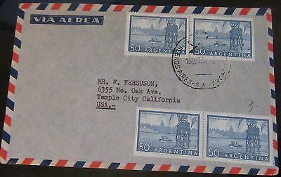 1930+Argentina 50 Cents X4 On Cover To The U.s.a. Used.
