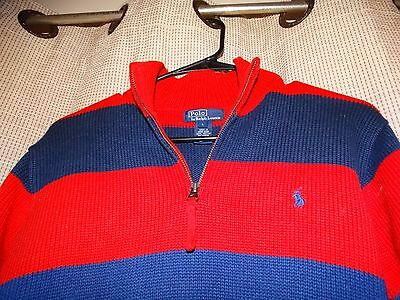 RALPH LAUREN polo boys large navy and red striped pony sweater excellent 16 18