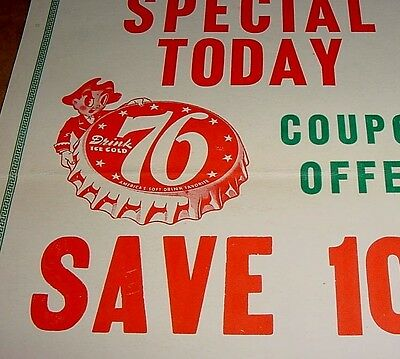 GRAPHIC 1940s Vintage 76 SODA Old General Store Sign