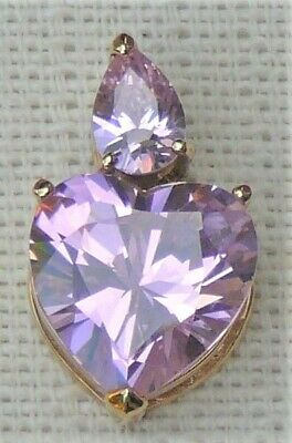 Heart pendant, pink cubic, circa 1980s, gold plated, very brilliant