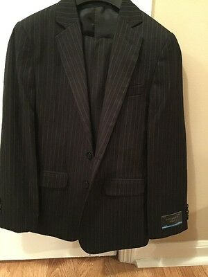 New Boys Dockers Black Pinstripe 2 Piece Suit SZ 14 Regular 2 Button