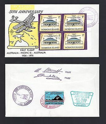 Norfolk Island 50th anniv. first flight cover with pictorial cancels signature h