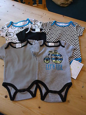 Baby Gear Grow With Me 5 Cotton Rich S/Sleeved Bodysuits 0-3m & 3-6m Multi BNWT