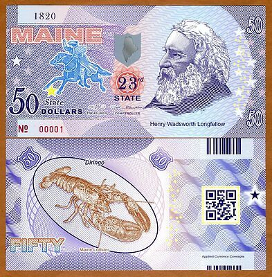 USA States, Maine, $50, Polymer, ND (2017), UNC   Henry Longfellow, Lobster