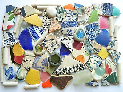 English Sea Glass Beach Finds, Pottery Shards And Sea Glass For Arts And Crafts