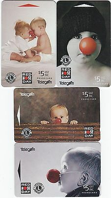 1993 Red Nose Day 4 X $5.00 Phonecard Set