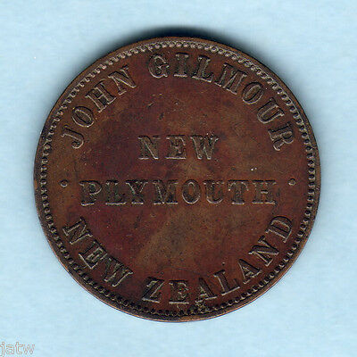 New Zealand - Token.  Gilmour 1d.. New Plymouth..  gVF