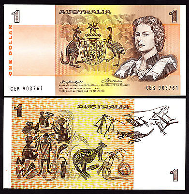Australia Dollar $1 aUNC Note  R.76a Centre Thread  Knight Wheeler CEK