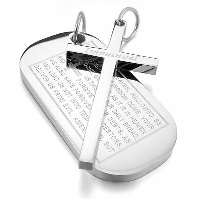 MENDINO Men's Stainless Steel Pendant Necklace Dog Tag Cross Bible Lord Prayer