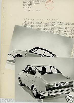 Skoda S 110 R Coupe 1970  Press Release &   Press Photographs