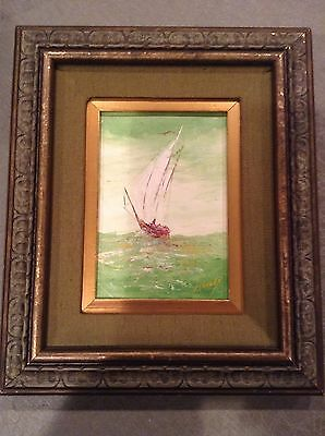 Mid century painting by  listed California artist R.C. Stanley  1967 FULL SAIL