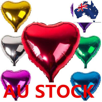 "10"" 10 Inch Foil Ballons 10 pcs Heart Shape Birthday Party Wedding Decoration"