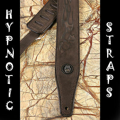 Hypnotic Straps Brown Demon Tooled Suede Guitar,bass,acoustic Strap Padded Comfy