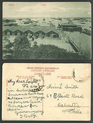 Ceylon 1905 Old Postcard Colombo Harbour from Grand Oriental Hotel, Ships, Boats