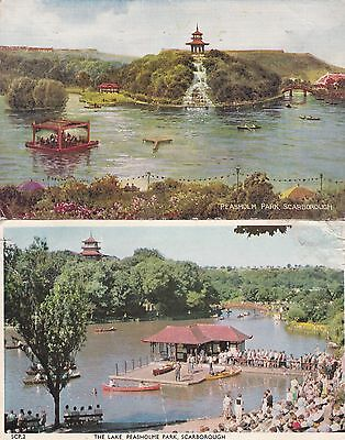 2 Old Postcard Scarborough Yorkshire Peasholm Park Pagoda A3