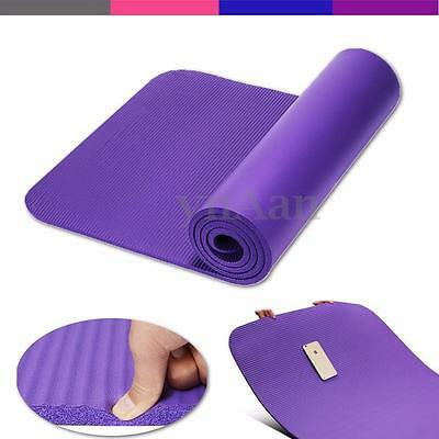 10MM Thick Non Slip Yoga Mat Exercise Pad Fitness Physio Pilates Gym Cushion New