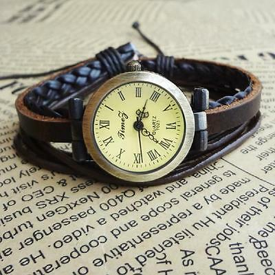 Cool Black Vintage Retro Wrap Around Quartz Leather Band Bracelet Bangle Watch