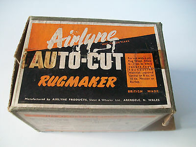 Vintage Boxed Airlyne Auto Cut Rug Maker For Use With 6 Ply Wool British Made