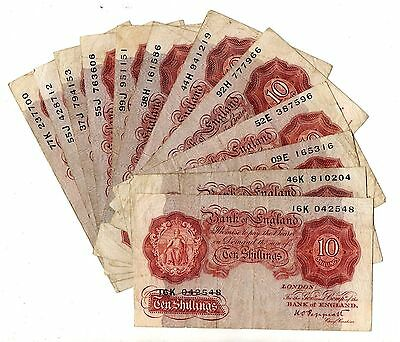 K O Peppiatt Post-War Ten Shillings 10/- Banknote Circulated About Fine B262