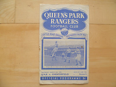 Queens Park Rangers v Chesterfield 1950 Div Two