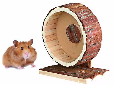 """New 20 Cm 8"""" Natural Wooden Syrian Hamster Gerbil Cage Exercise Wheel 61035"""