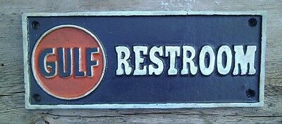 Gulf Motor Oil RESTROOM Sign Cast Iron Advertising Sign Plaque Antique Gas Oil