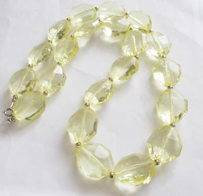Vintage 60's Citrine Yellow Coloured Lucite Faceted Chunky Beads Beaded Necklace