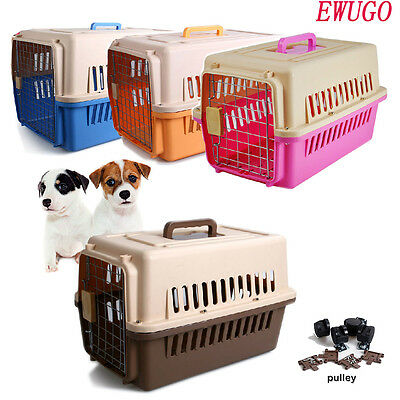 Plastic Pet Carrier Dog Puppy Cat Kitten Rabbit Transport Travel Box Cage Uk