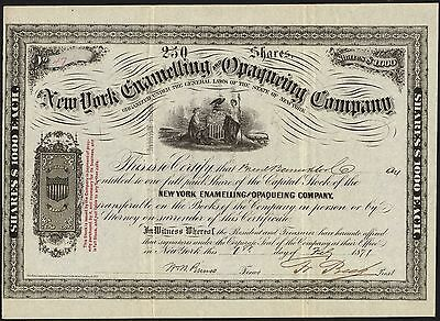 New York nameling & Opaqueing Company, $1000 share, 1871