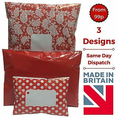 RED Mailing Bags Postage Coloured Poly Packaging Plastic - Polka Dot Floral