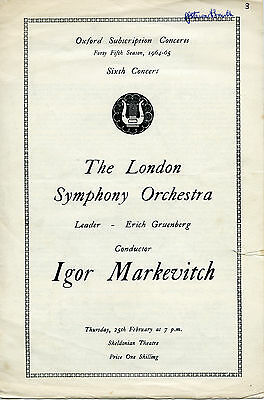 Concert Programme - Igor Markevitch/lso - 25Th February 1965 - Sheldonian Oxford