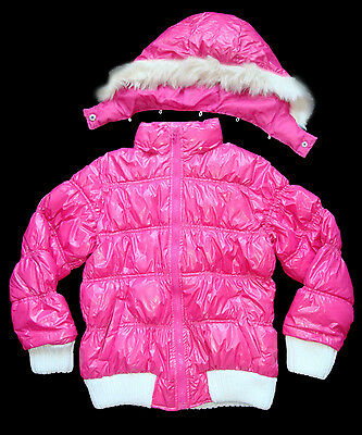X 10 Girls Winter Pink Puffa / Puffer Coat with Removeable Hood 6 and 8 Years