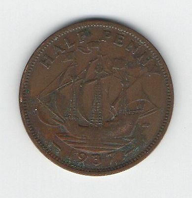 Great Britain Coin 1937 1/2d King George V1