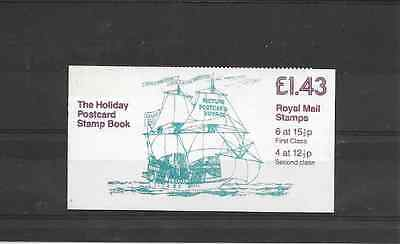 GB 1982 Holiday Postcard Folded £1.43 Booklet - FN 3A - Cyl Nos