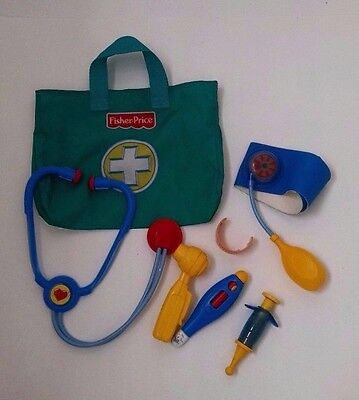 Fisher-Price Medical Kit Doctor Nurse Bag Stethoscope Thermometer Otoscope Cuff