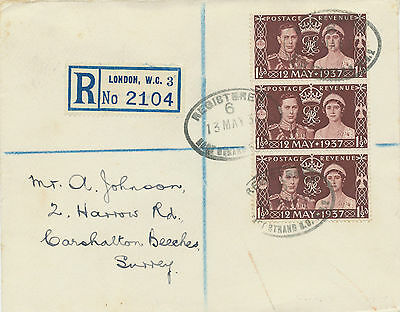 2414 1937 Coronation (strip of 3) VF LONDON Registered FDC EAST STRAND SO WC2