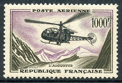 Stamp  Timbre France Neuf Poste Aerienne N° 37 ** Helicoptere Alouette Cote 72 €