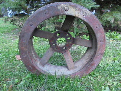 "Vintage Cast Iron Rockwood Steampunk Flat Belt Pulley 14"" Across"