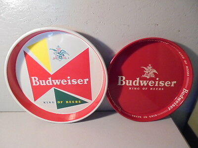 2 Vintage Budweiser Beer Trays Lot Bowtie & Red/White