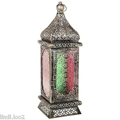 LARGE SILVER METAL & COLOURED GLASS ARABIAN MOROCCAN THEMED CANDLE LANTERN 42cm