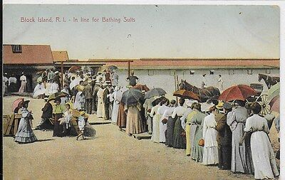 BLOCK ISLAND, RI - Standing in Line for Bathing Suits, Bath House, a long wait
