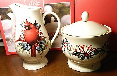 Lenox Winter Greetings Sugar and Creamer Set NEW in Box with Cardinal $80 NEW